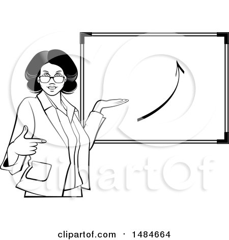 Clipart of a Grayscale Hispanic Business Woman Pointing to and Presenting a Board with an Arrow - Royalty Free Vector Illustration by Lal Perera