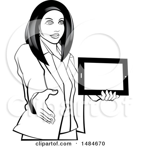 Grayscale Hispanic Business Woman Holding a Tablet Computer and Reaching out to Shake Hands Posters, Art Prints