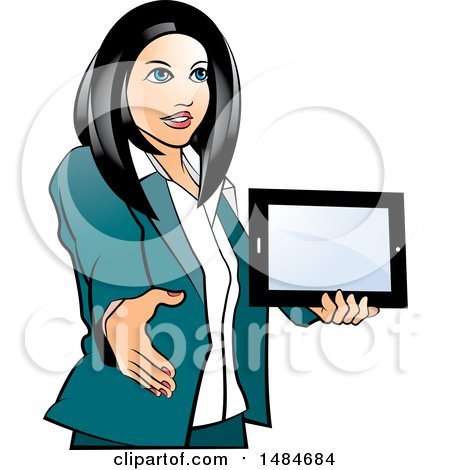 Clipart of a Hispanic Business Woman Holding a Tablet Computer and Reaching out to Shake Hands - Royalty Free Vector Illustration by Lal Perera