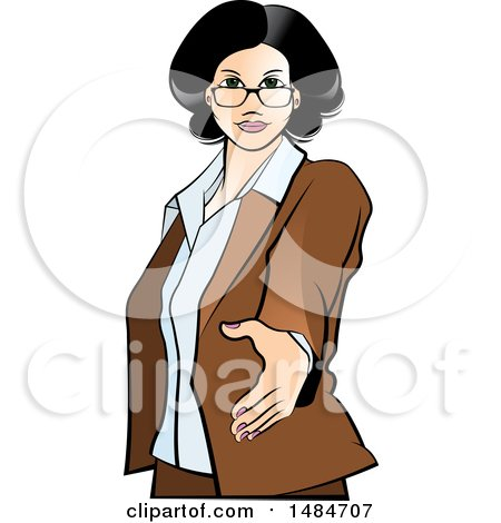 Clipart of a Hispanic Business Woman Reaching out to Shake Hands - Royalty Free Vector Illustration by Lal Perera