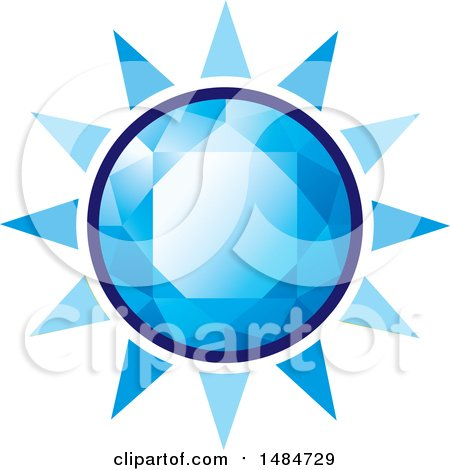 Clipart of a Blue Diamond Gemstone Sun - Royalty Free Vector Illustration by Lal Perera