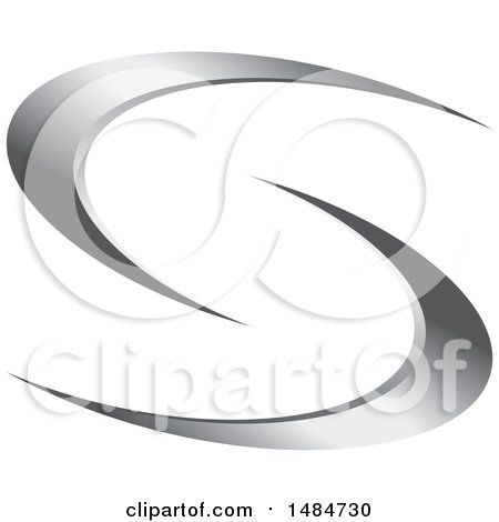 Clipart of a Silver Letter S Swoosh Design - Royalty Free Vector Illustration by Lal Perera