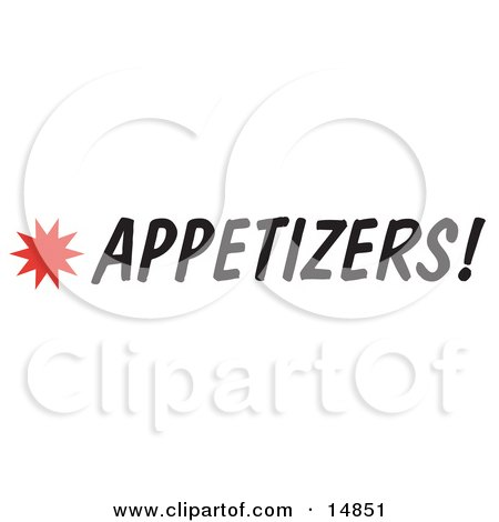 Appetizers Sign With a Star Burst Clipart Picture by Andy Nortnik