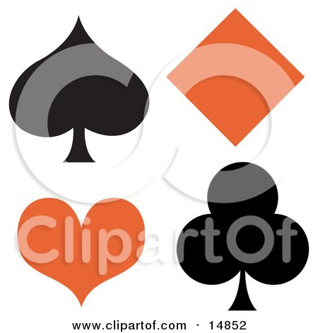 Black Spade And Club With An Orange Diamond And Heart Clipart Illustration by Andy Nortnik