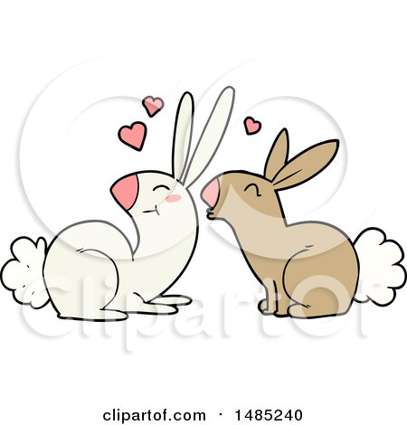 Clipart Cartoon Rabbits in Love by lineartestpilot
