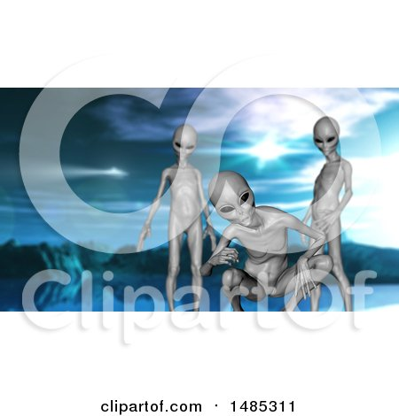 Clipart of a 3d Group of Curious Aliens - Royalty Free Illustration by KJ Pargeter