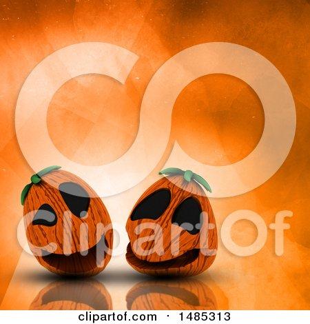 Clipart of 3d Halloween Jackolantern Pumpkins on an Orange Watercolor Background -Royalty Free Illustration by KJ Pargeter