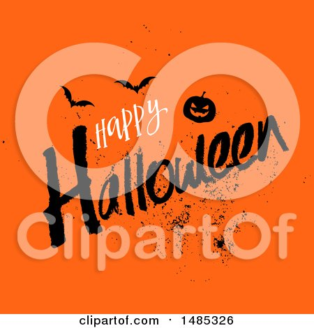 Clipart of a Happy Halloween Greeting with a Jackolantern Pumpkin and Bats on Orange - Royalty Free Vector Illustration by KJ Pargeter