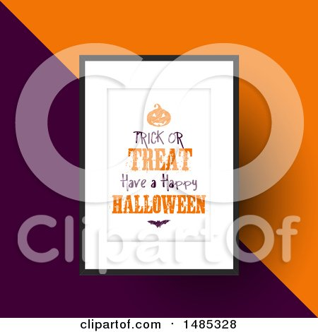 Clipart of a Framed Trick or Treat Have a Happy Halloween Design over Orange and Purple - Royalty Free Vector Illustration by KJ Pargeter
