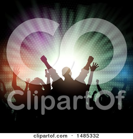 Clipart of a Silhouetted Concert Audience over Colorful Lights - Royalty Free Vector Illustration by KJ Pargeter