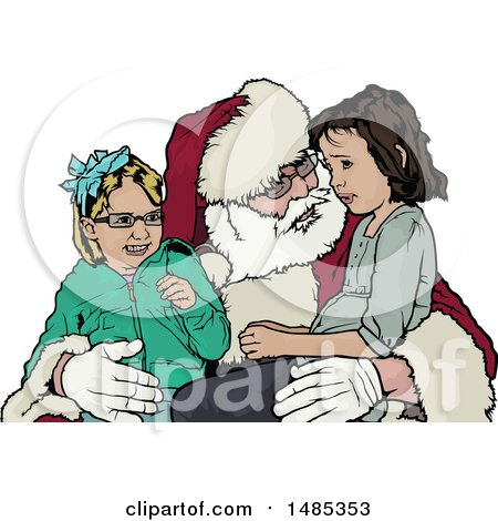 Clipart of Girls Sitting on Santas Lap - Royalty Free Vector Illustration by dero