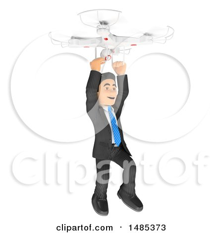 Clipart of a 3d Business Man Hanging from a Drone, on a White Background - Royalty Free Illustration by Texelart