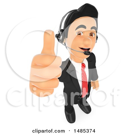 Clipart of a 3d Business Man Wearing a Headset and Giving a Thumb Up, on a White Background - Royalty Free Illustration by Texelart