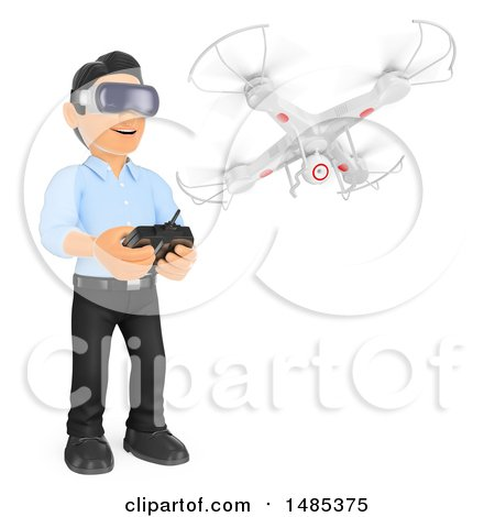Clipart of a 3d Business Man Flying a Drone and Wearing Virtual Reality Glasses, on a White Background - Royalty Free Illustration by Texelart