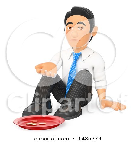 Clipart of a 3d Business Man Begging, on a White Background - Royalty Free Illustration by Texelart