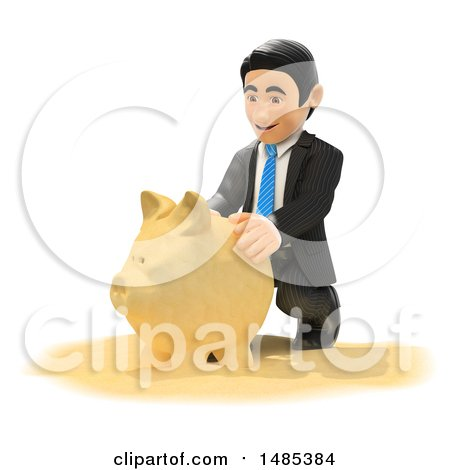 Clipart of a 3d Business Man Making a Piggy Bank out of Sand, on a White Background - Royalty Free Illustration by Texelart