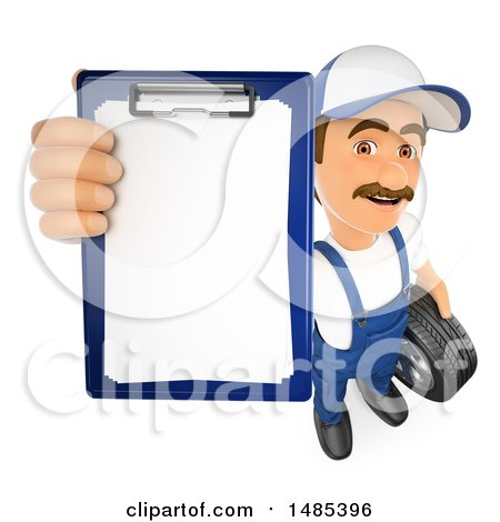 Clipart of a 3d Male Mechanic Holding up a Clipboard, on a White Background - Royalty Free Illustration by Texelart