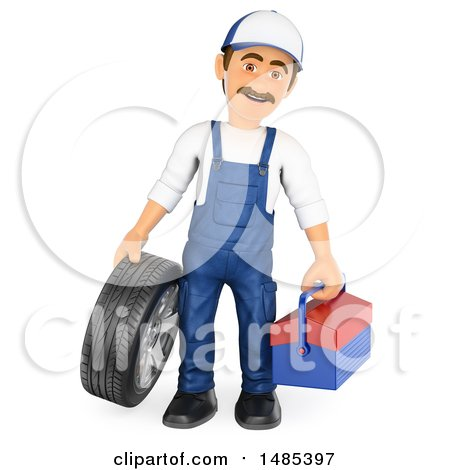 Clipart of a 3d Male Mechanic Holding a Tire and Tool Box, on a White Background - Royalty Free Illustration by Texelart