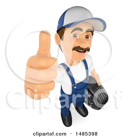 Clipart of a 3d Male Mechanic Holding up a Thumb, on a White Background - Royalty Free Illustration by Texelart