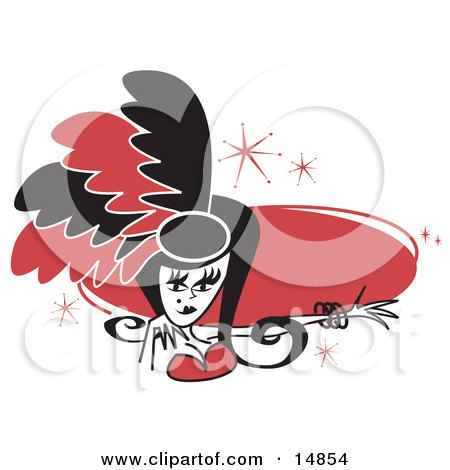 Pretty Showgirl In Red And Black Feathers, Holding Out Her Arm In Front Of A Red Circle Clipart Illustration by Andy Nortnik