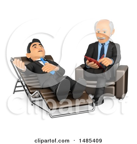 Clipart of a 3d Senior Male Counselor Listening to a Patient and Taking Notes, on a White Background - Royalty Free Illustration by Texelart