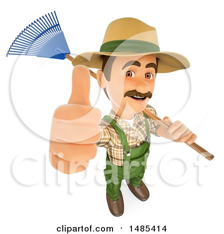 Clipart of a 3d Gardner Holding up a Thumb and a Rake over His Shoulder, on a White Background - Royalty Free Illustration by Texelart
