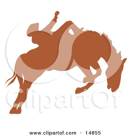 Brown Silhouette Of A Cowboy Riding A Bucking Bronco In A Rodeo  Posters, Art Prints