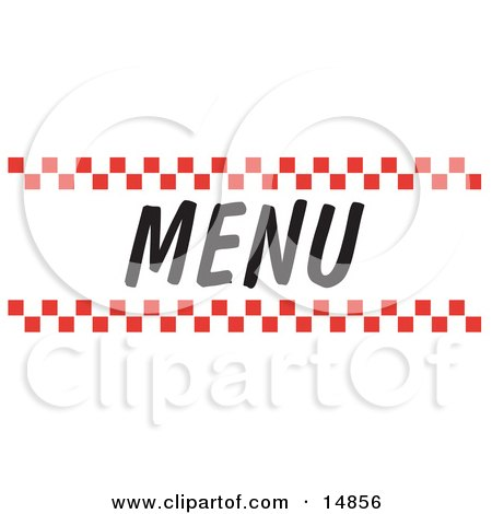 Menu Sign With Red Checker Borders Clipart Picture by Andy Nortnik