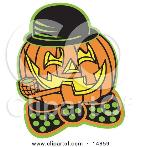 Carved Jack O Lantern Wearing A Hat And Bowtie And Grinning While Smoking A Pipe Clipart Illustration