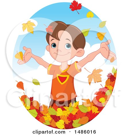 Clipart of a Happy Boy Playing in Autumn Leaves - Royalty Free Vector Illustration by Pushkin