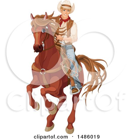 Clipart of a Cowboy, Pecos Bill, Riding a Horse - Royalty Free Vector Illustration by Pushkin