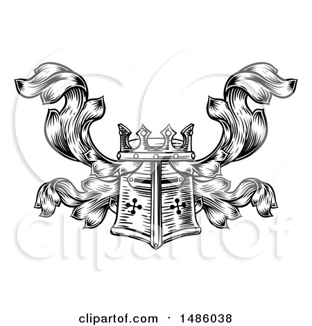 Clipart of a Knights Great Helm Helmet and Foliage Crest Coat of Arms - Royalty Free Vector Illustration by AtStockIllustration