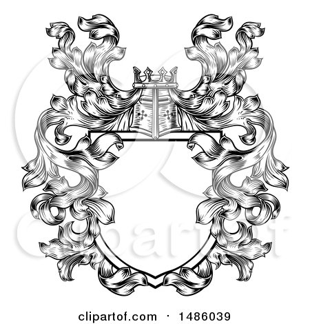 Clipart of a Knights Great Helm Helmet and Foliage Crest Coat of Arms Shield - Royalty Free Vector Illustration by AtStockIllustration
