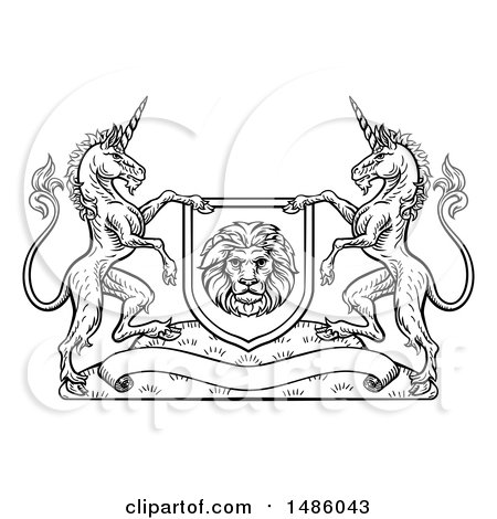 Clipart of a Black and White Heraldic Lion and Unicorn Coat of Arms Crest - Royalty Free Vector Illustration by AtStockIllustration
