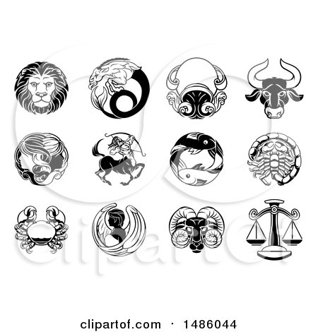Clipart of Black and White Zodiac Astrology Horoscope Star Signs - Royalty Free Vector Illustration by AtStockIllustration