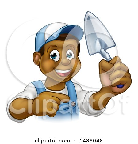Clipart of a Cartoon Happy Black Male Gardener in Blue, Holding a Garden Trowel and Pointing - Royalty Free Vector Illustration by AtStockIllustration