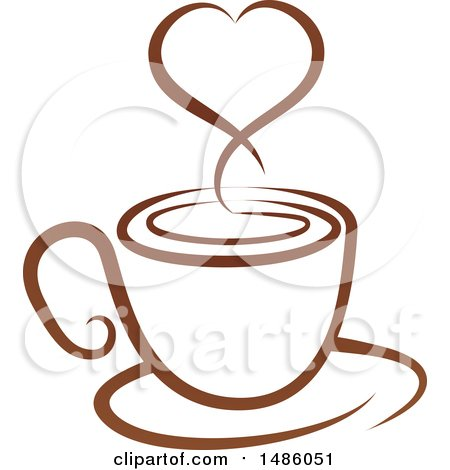 Clipart of a Brown Coffee Cup with a Steam Heart on a Saucer - Royalty Free Vector Illustration by AtStockIllustration