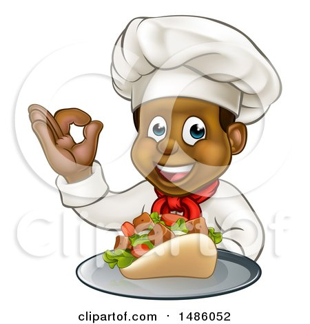 Clipart of a Male Chef Holding a Souvlaki Kebab Sandwich on a Tray and Gesturing Perfect - Royalty Free Vector Illustration by AtStockIllustration