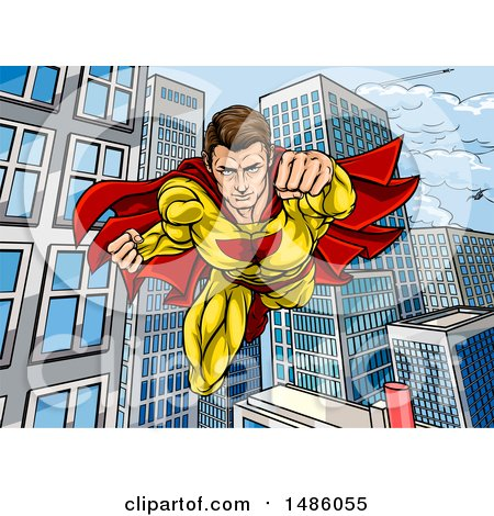 Clipart of a Pop Art Comic Male Super Hero Flying Forward over a City - Royalty Free Vector Illustration by AtStockIllustration