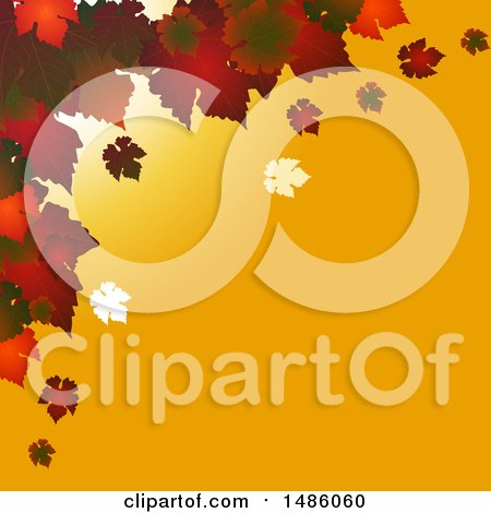 Autumn Square Background with Red Leaves on Yellow by elaineitalia
