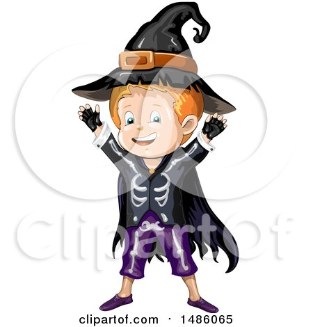 Clipart of a Boy in a Skjeleton Wizard Halloween Costume - Royalty Free Vector Illustration by merlinul