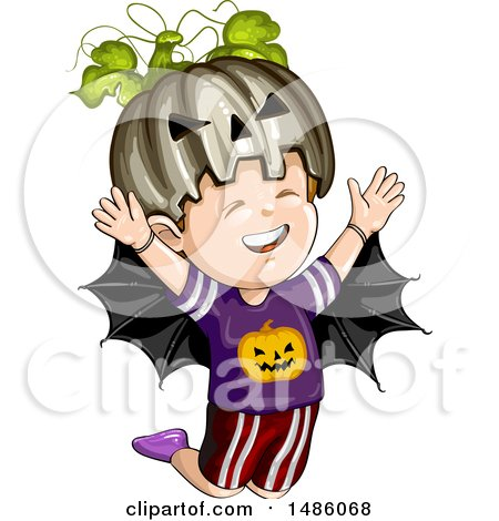 Clipart of a Boy in a Jackolantern and Bat Halloween Costume - Royalty Free Vector Illustration by merlinul