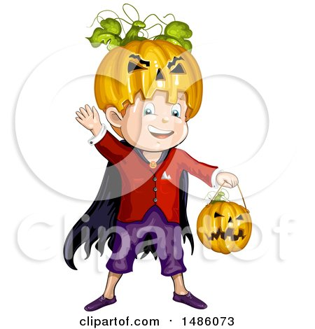 Clipart of a Boy in a Jackolantern Halloween Costume - Royalty Free Vector Illustration by merlinul