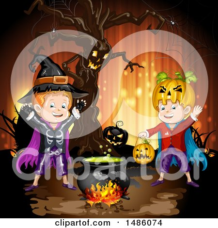 Clipart of a Boiling Cauldron, Ent Tree and Boys in Halloween Costumes - Royalty Free Vector Illustration by merlinul