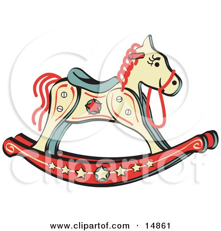 Child's Rocking Horse With Star Decorations Retro Clipart Illustration by Andy Nortnik