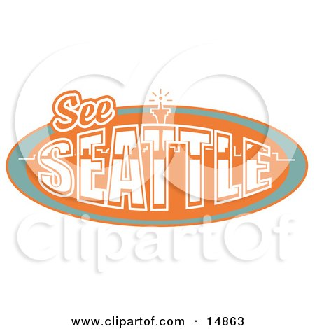 Vintage See Seattle Sign With The Space Needle Clipart Illustration by Andy Nortnik