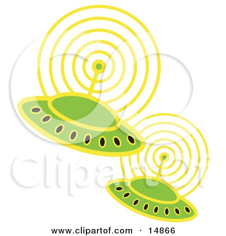Two Green UFOs Flying In Space And Communicating With Eachother Clipart Illustration