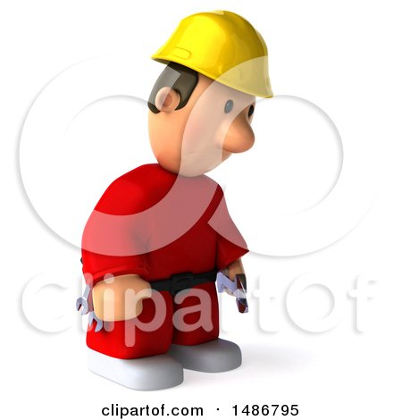 Clipart of a 3d Worker Man, on a White Background - Royalty Free Illustration by Julos