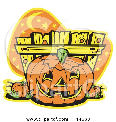 Printable Clipart of Halloween Pumpkin Patch Cartoon by Andy Nortnik