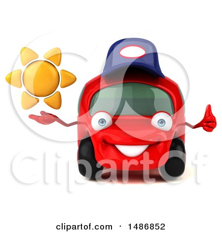 Clipart of a 3d Little Red Mechanic Car, on a White Background - Royalty Free Illustration by Julos